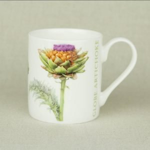 Iona Buchanan artichoke china mug white background with large artichoke on it green leaves, yellow and purple head