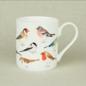 Iona Buchanan garden bird mug whie china with several species of garden birds chaffin blue tit robin