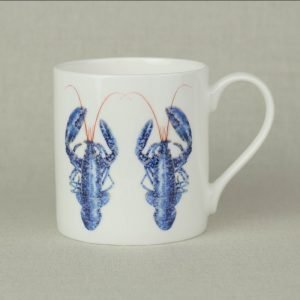 Iona Buchanan lobster china mug with two blue lobsters on a white background