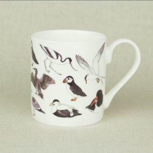 Iona Buchanan lobster china mug with sea life bird images on it seagulls puffins white background