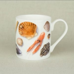 Iona Buchanan sea shell white china mug with images of sea shells from cockles mussels and prawns