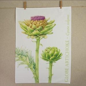 Iona Buchanan artichoke tea towel cotton large image of artichoke green leaves yellow and purple flower