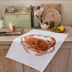 Iona Buchanan crab tea towel white back ground large image of crab cotton