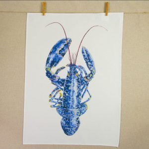 Iona Buchanan tea towel large image of blue lobster on white cotton background