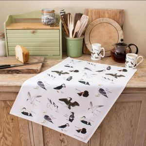 Iona Buchanan sea birds tea towel cotton black and white images of several species of sea birds seagulls puffins