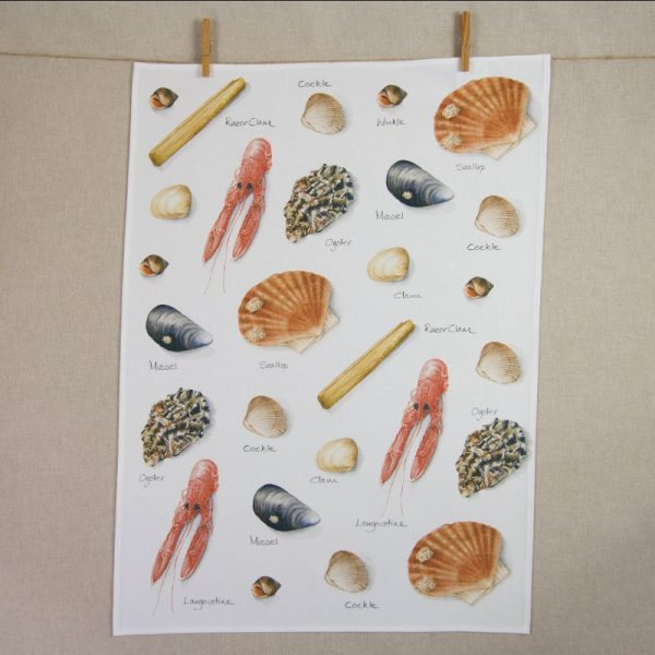 Iona Buchanan sea shells tea towel cotton several types of sells from cockles mussels to prawns and oysters