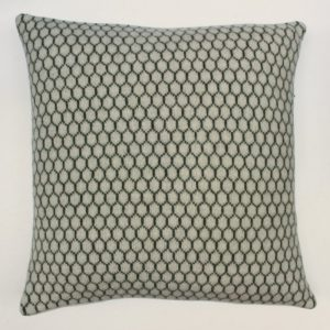 janie knitted textile merino wool cushion grey honeycomb design in black