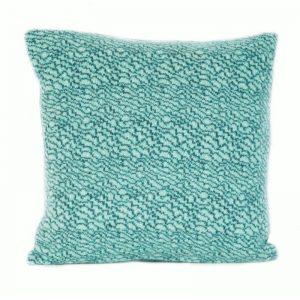 janie knitted textile merino wool cushion strata pattern pale blue with darker blue pattern