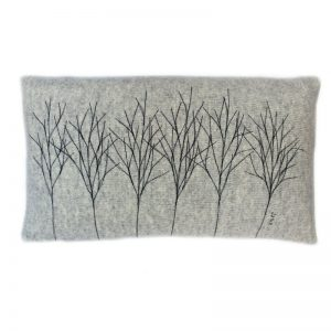 janie knitted textile merino wool cushion grey oblong with tree stitch effect