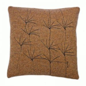 janie knitted textile merino wool cushion brown with tree effect stiching