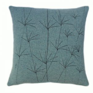 janie knitted textiles 100% merino wool cushion Blue with tree stitching