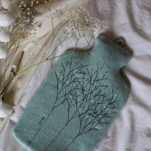 janie knitted textiles 100% tow merino wool hot water bottle cover blue with stitched tree design