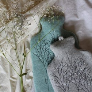 janie knitted textiles 100% tow merino wool hot water bottle cover turquoise and grey with stitched tree design