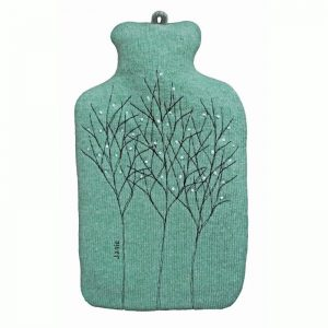 janie knitted textiles 100% merino wool hot water bottle cover turquoise with stitched tree design