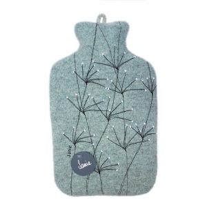 janie knitted textiles 100% merino wool hot water bottle cover pale blue with stitched tree design
