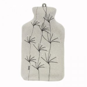 janie knitted textiles 100% merino wool hot water bottle cover pale grey with stitched tree design