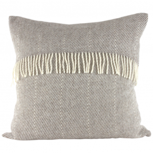 Romney Marsh Wool light grey cushion with fine cream stitched strip and cream fringe