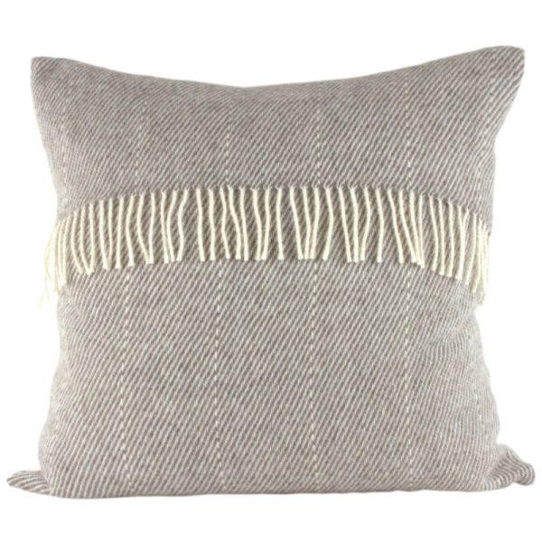 Romney Marsh Wool cushion cushion with fine cream stripe and cream fringe