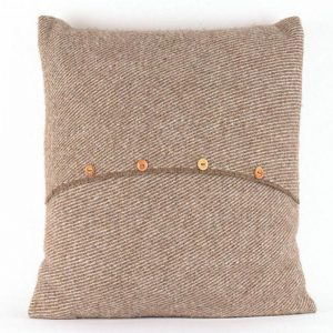 Romney Marsh Wool brown cushion with four small buttons