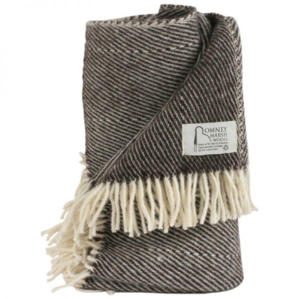 Romney Marsh Wool dark grey light check throw with cream fringe