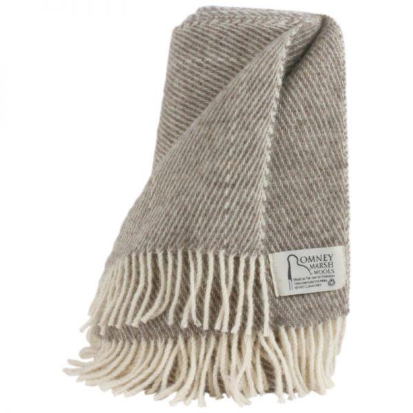 Romney Marsh Wool light brown throw with cream fringe