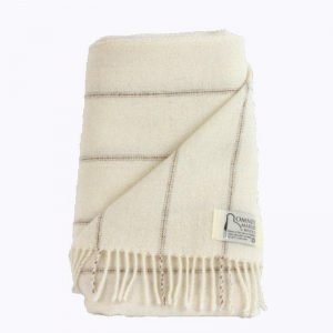 Romney Marsh Wool cream throw with fine brown stripes