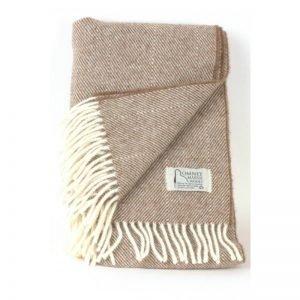 Romney Marsh Wool cream throw with cream fringe