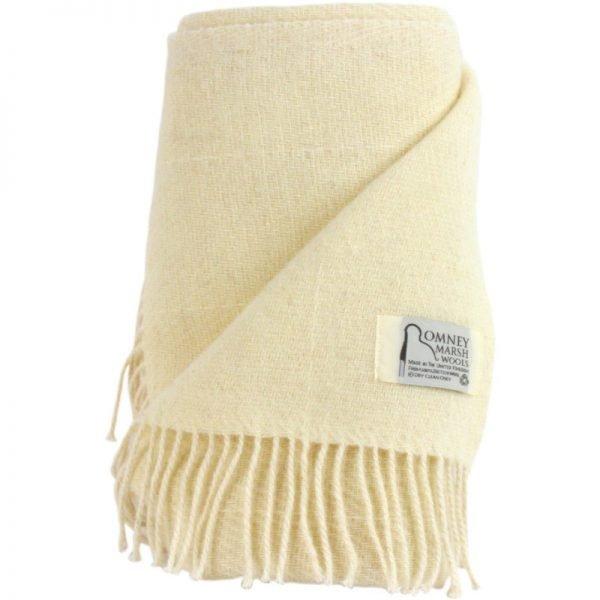 Romney Marsh Wool cream throw with fine check print
