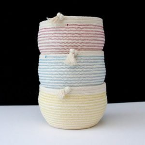 Ruby Cubes stack of three rope bowls colour red blue and yellow zig zag stitching