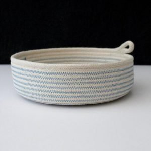 Ruby Cubes rope bowl blue zig zag stitching