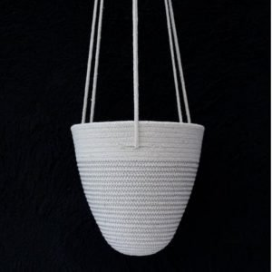 Ruby Cubes hanging planter rope basket grey zig zag stitching and plain rope top