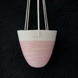 Ruby Cubes hanging planter rope basket red zig zag stitching and plain rope top