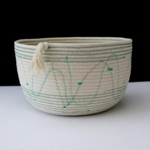 Ruby Cubes rope storage basket green zig zag stitching at top and bottom and free form stitching in middle