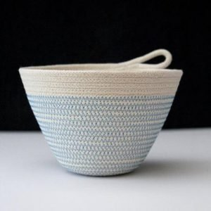 Ruby Cubes rope basket light blue zig zag stitching with plain rope top