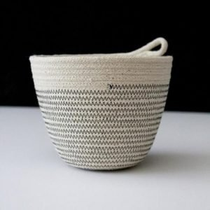 Ruby Cubes rope basket zig zag grey stitching with plain rope top
