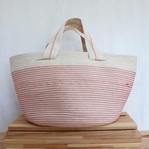 Ruby Cubes slouchy tote rope bag coral colour cotton twill handles