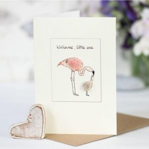 Penny Lindop greeting card baby girl pink fluffy mother and chick flamingos with caption welcome little one