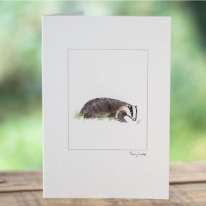 Penny Lindop greeting card fluffy badger in grass
