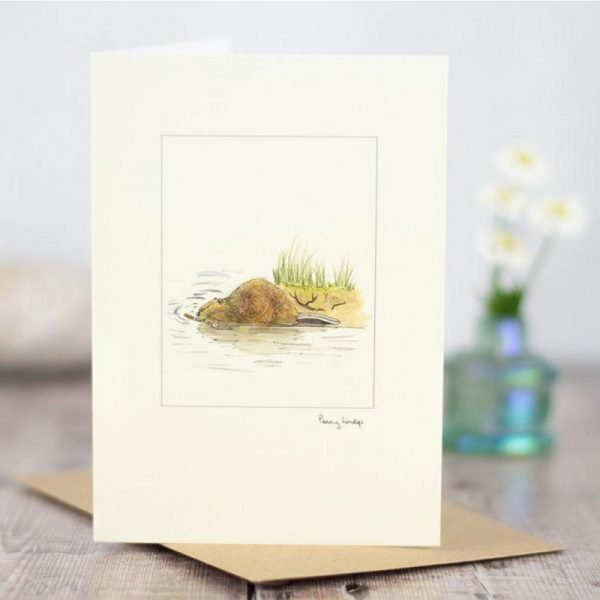 Penny Lindop greeting card fluffy otter on river bank