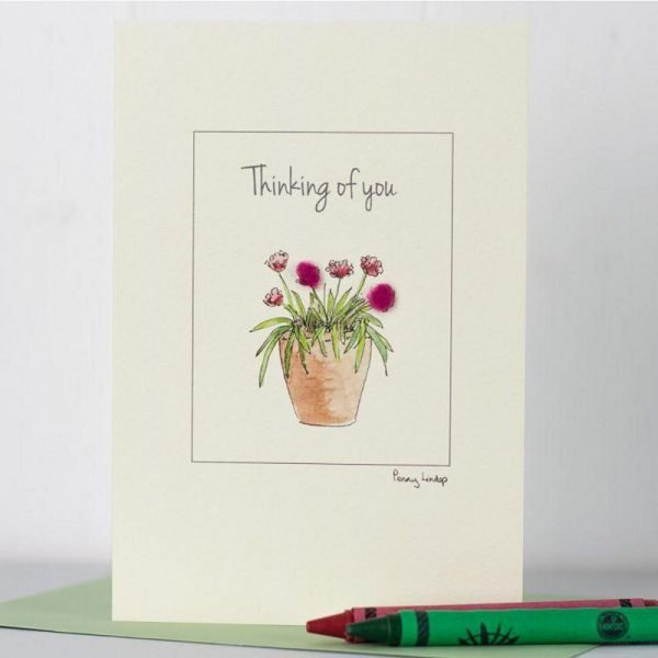 Penny Lindop greeting card thinking of you caption terracotta flower pot with dark pink fluffy flowers
