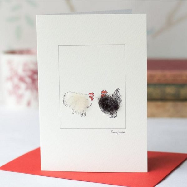 Penny Lindop greeting card two fluffy chickens one black and one white