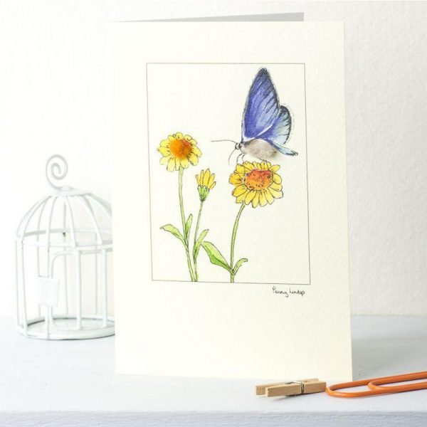 Penny Lindop greeting card blue fluffy butterfly sat on yellow sun flowers