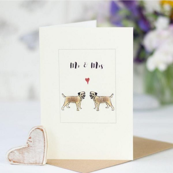 Penny Lindop greeting card two border terrier fluffy dogs underneath Mr & Mrs caption