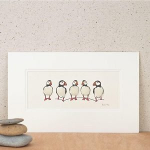 Penny Lindop Puffin print row of five puffins on a rock with fluffy white sheep wool bodies