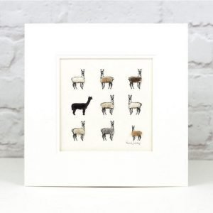 Penny Lindop Alpaca Print rows of alpacas with sheep wool fluffy bodies black brown and white bodies