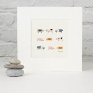 Penny Lindop Pig Print rows of different breed of pigs fluffy sheep wool bodies