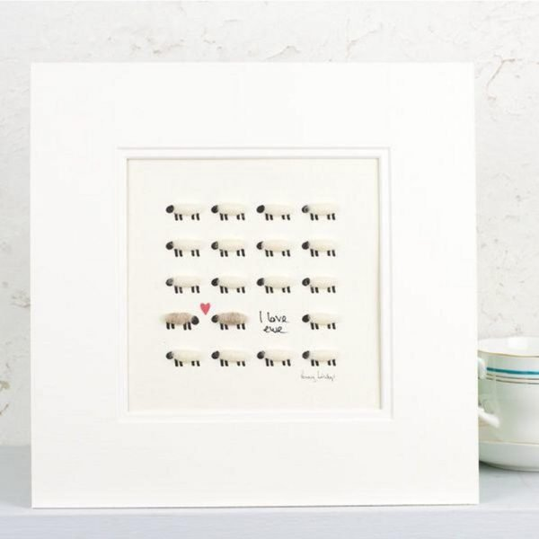 Penny Lindop Sheep Print lines of sheep with fluffy sheep wool bodies with caption I love ewe