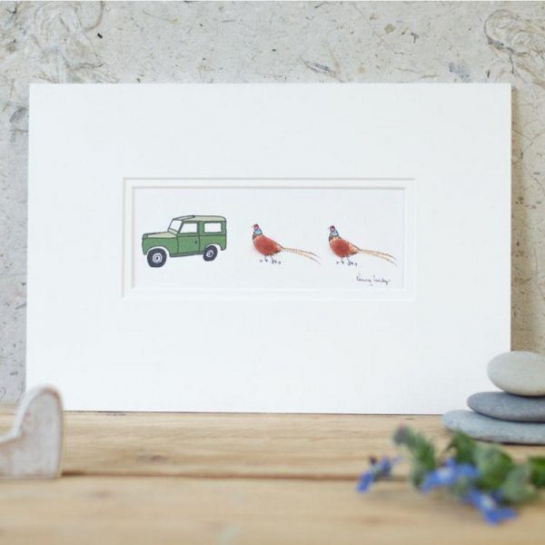 Penny Lindop Pheasant and Land Rover Print green land rover with two pheasants fluffy bodies made from sheep wool