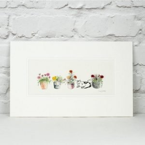 Penny Lindop Cat sleeping by four flower pots flowers are fluffy made from sheep wool