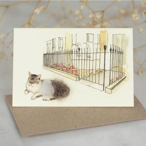 Penny Lindop gift card fluffy sheep wool cat sat on pavement outside town house